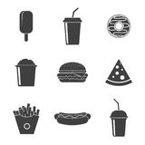 Set Fast food icons  on white background. Royalty Free Stock Photography