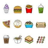 Set fast food ikony Napoje, przekąski i cukierki, Fotografia Stock