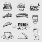 Set with fast food illustration. Sketch vector, restaurant, menu. Hamburger, hot dog, sandwich, , pizza, french fries Royalty Free Stock Images