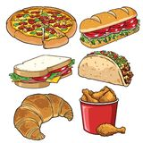 Set of fast food illustration white Stock Photography