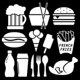Set fast food isolated icon Stock Photography
