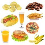 Set of fast food isolated on white Royalty Free Stock Photo