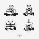 Set of fast food, junk food logos with ribbon Royalty Free Stock Photos