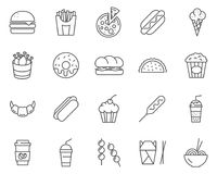 Set of Fast Food line vector icons. royalty free stock photos