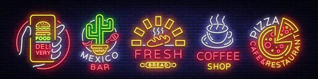 Set Fast Food Logos. Collection neon signs, Street Food, Food Delivery, Mexico Bar, Fresh Bread, Coffee shop, Pizza Cafe stock illustration