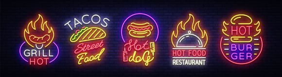 Set Fast Food Logos. Collection neon signs, Street Food Hot Grill, Tacos, Hot Dog, Burger cafe, Restaurant. Design. Set Fast Food Logos. Collection neon signs vector illustration