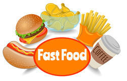 Set of Fast Food. Fast Food Set, Meal, Coffee, Hot Dog, Burger, French Fries, Potato Chips, Vector Illustration EPS 10 Stock Images