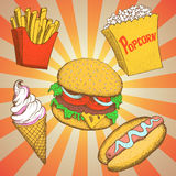 Set with fast food meals Stock Photo