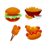 Set of fast food meals. Collection  cartoon snack icons Stock Images