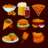 Set of fast food meals. Collection  cartoon snack icons Royalty Free Stock Photography