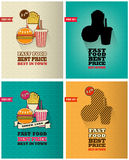 Set of fast food menu posters with long shadows Stock Photo