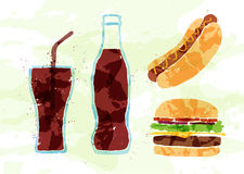 Set of fast food multicolored watercolor Royalty Free Stock Images