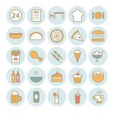 Set of 25 fast food outline icons. Linear fast food icons for web, print, mobile apps design Royalty Free Stock Photos