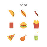 Set of fast food products. Stock Photos
