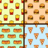 Set of fast food seamless patterns kawaii characters. Flat design Vector stock illustration