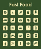 Set of fast food simple icons Royalty Free Stock Images
