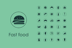 Set of fast food simple icons Royalty Free Stock Photos