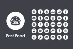 Set of fast food simple icons Stock Photos