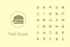 Set of fast food simple icons Stock Photo
