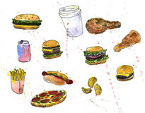 Set of fast food sketch Stock Photo