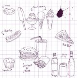 Set of fast food sketch Royalty Free Stock Photo