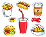 Set of fast food stickers Royalty Free Stock Image