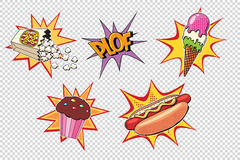 Set fast food and sweets, pop art style Royalty Free Stock Images