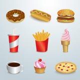 Set of fast food Stock Image
