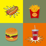 Set of Fast food. Vector Stock Photo