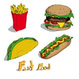 Set of fast foods Stock Image