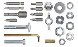 Set of fasteners. Clipping path included royalty free stock image