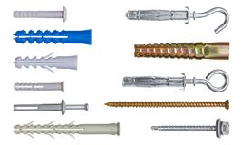 Set of fasteners. Clipping path included. Stock Photos