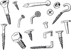 Set of fasteners. Set of of various, doodle drawn fasteners royalty free illustration