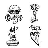 Set of fastfood hand-drawn freehand sketch drawings on white background with lettering. Pizza slices, sandwich, burger Stock Photos