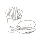 Set of fastfood hand-drawn outline drawings on white background. , sandwich, burger. Black lines. royalty free illustration