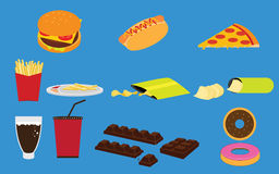 Set of Fastfood Junk food and Snack Vectors Stock Images