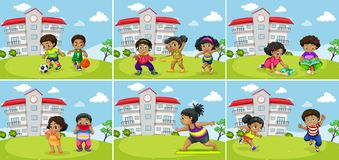 Set of fat kids exercise