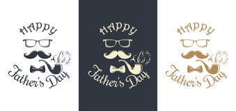 Set Father's Day card. Pipe, mustache, glasses, bow tie Stock Images