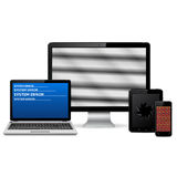 Set of  faulty digital devices  on white background Royalty Free Stock Photo