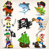 Set of fearless pirates. At sea with seamless background. EPS 10 Royalty Free Stock Photos