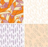 Set of 4 Feather seamless backgrounds Royalty Free Stock Photos