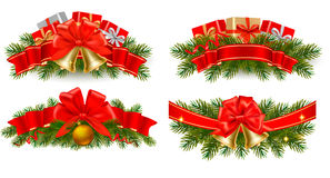 Set Feiertagsweihnachtsgirlanden mit roten Farbbändern Stockbild