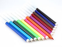 Set felt-tip Federn der Farbe Stockfotos