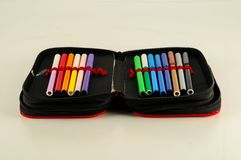 Set of felt-tip pens. Of different colors royalty free stock photos