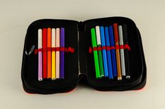 Set of felt-tip pens. Of different colors stock photography