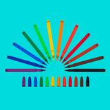 Set of felt-tip pens, red, green, yellow, purple, brown, black, biscuit, orange, chlorine, blue, mazarine. Vector art royalty free stock image