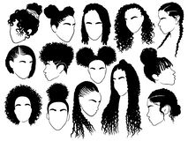 Set of female afro hairstyles. Collection of dreads and afro braids for a girl. Black and white illustration for a