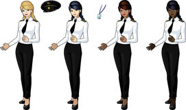 Set of 4 female airplane pilots. In bluses with IDs and cape Royalty Free Stock Images