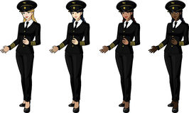 Set of 4 female airplane pilots in suits. Set of 4 female airplane pilots in  black suits Stock Photography