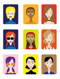 Set of Female Avatar Royalty Free Stock Photo